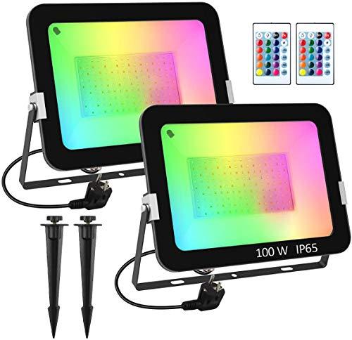T-SUN Projecteurs LED RGB Exterieur 2 Pack 100W Projecteurs LED 16 couleurs 4 modes Projecteurs LED dimmable avec télécommande IP65 étanche, Spot LED de Couleur pour Jardin Paysager Décoratif Bar