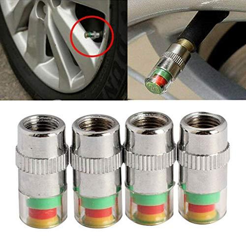 Alecony 4 stücke Reifenwächter Druckwächter Druckanzeige Reifendruckkontrolle Ventilkappe für Autoreifenkappen Autoreifen Ventilkappen Druckwächter Ventilkappen Sensor Indikator