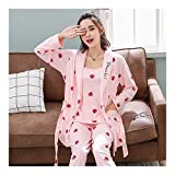 HAOLIEQUAN 3 Piece Set Pajamas for Women Women Stripe Print Knitting Cotton Sleepwear Set Long Sleeve Elastic Waist Lounge Pyjamas -