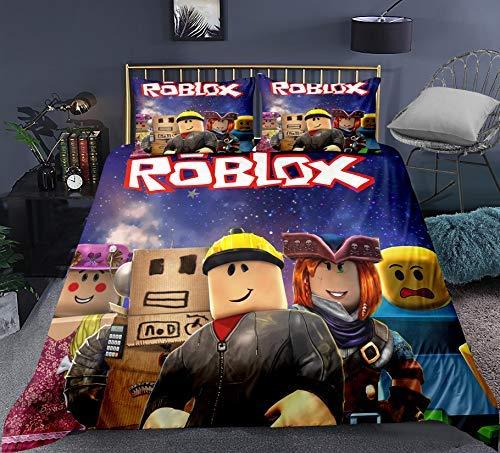 Funda nórdica para niños Roblox 3D HD Juego de ropa de cama para jóvenes Roblox (incluidas fundas de almohada a juego) ropa de cama con temática de juego de Roblox súper suave y cómoda (A1,135x200cm)