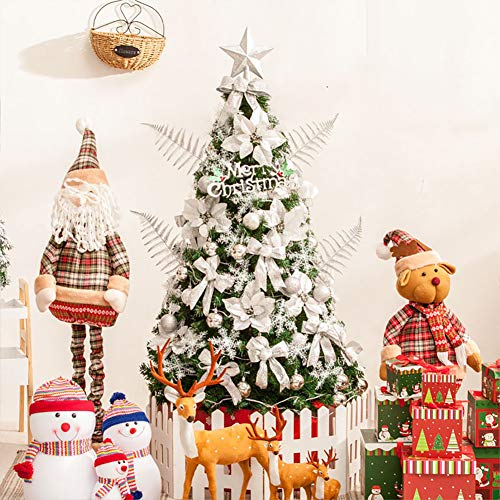 DULPLAY 9.8Ft Decoration Artificial Christmas Tree,led Lights Spruce Hinged Metal Stand 1500 Tips Foldable Eco-Friendly Holiday-Silvery 9.8Ft(300cm)