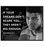 Muhammad Ali Poster - Motivational Sports Quote - Wall Art Decor for Home, Office, Gym, Man Cave, Bedroom - Gift for Men, Boys, Teens, Graduation, Boxing, Workout, Weightlifting Fans - 8x10 UNFRAMED