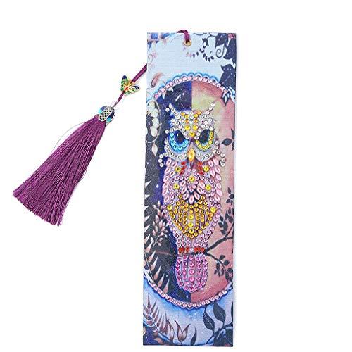 VETPW DIY Diamant Malerei Lesezeichen Eule, Malen Nach Zahlen Kit, 5D Special Shaped Diamond Painting Bookmark, Diamant Stickerei Malerei Quaste Leder Lesezeichen Set -Eule steht auf Dem Baum