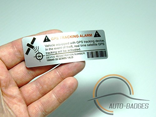 auto-badges 2 x Kfz-Warn-Aufkleber, Vinyl, selbstklebend, sehr Gute Haftung, GPS-Nachverfolgung