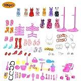 greatdaily Spielhaus-Set, 106 Teile Puppenkleider-Set Zubehör Kinderhaus-Spielzeug, Kleidung Und...