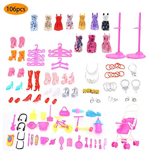 Somedays Insgesamt 106 Stücke - 10 Paket Kleidung Party Kleid Outfits Für Barbie Puppen + 96 Stücke Puppen Zubehör Schuhe Taschen Halskette Spiegel Kleiderbügel Geschirr