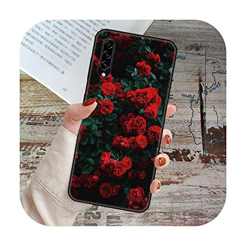 Phone Case For Samsung Galaxy A 50 51 71 70 7 5 10 20 30 40 41 21 S E 5G Black Cover Coque Trend Etui Fashion Red Roses Flowers-O3-Galaxy A70