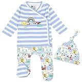 Piccalilly - Juego de 3 piezas de regalo para bebé, pantalones con pie + top + sombrero de nudo, algodón orgánico suave, tema de Londres
