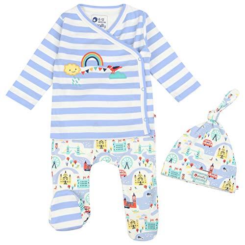Piccalilly Juego de 3 piezas de ropa de bebé, pantalones con pies + top envolvente + sombrero de nudo, algodón orgánico suave, tema de Londres