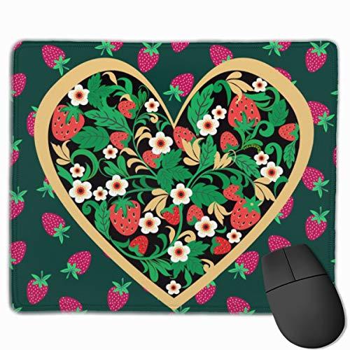 Alfombrilla de ratón decorativa con diseño de fresa de corazón de 25 x 30 cm, con base de goma antideslizante, suave para teclado de ordenador portátil