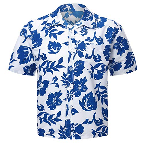 SKYLULU✿Spring and Summer Fashion Couple Personal Printed Short-Sleeved Beach Tops Retro Shirt Tops Blue