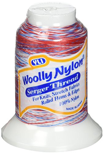 YLI 213YLIVA105 Variegated Woolly Nylon Thread, 1000m, Red/White/Blue