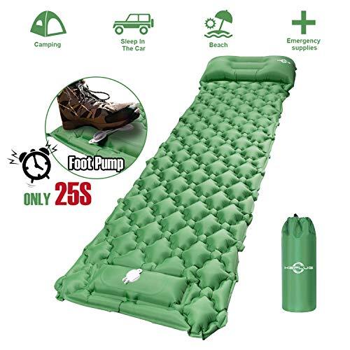 KEPLUG Isomatte selbstaufblasend Camping, luftmatratze Camping mit Fußpresse Ultraleicht, aufblasbare matratze für Camping, Strand, Reise, Outdoor, Wandern 195x70x6cm (Grün)