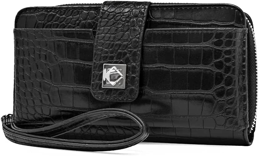 Women's Ainsley Bulk Clutch Faux Saffiano Leather Wallet (Black)