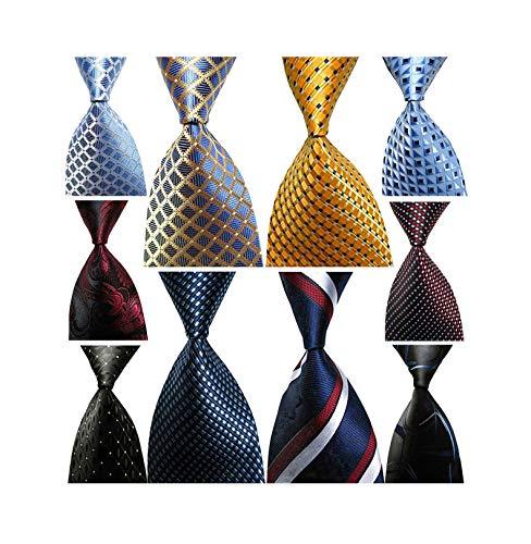 Wehug Lot 10 PCS Classic Men's tie 100% Silk Tie Woven Jacquard Neckties Ties for men