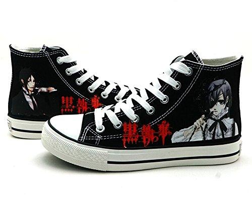 Telacos Black Butler Kuroshitsuji Ciel Sebastian Cosplay Schuhe Leinwand Schuhe Sneakers, Herren, schwarz