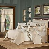 Five Queens Court Pamela 4 Piece Tropical Luxury Comforter Set, Sand, King 110X96