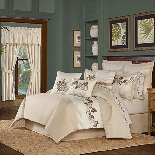 Five Queens Court Pamela 4 Piece Tropical Luxury Comforter Set, Sand, Queen 92X96