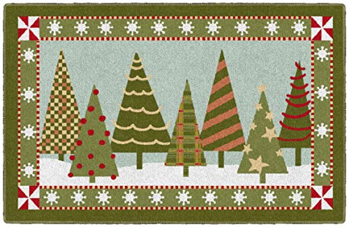 Brumlow MILLS Festive Trees Washable Christmas Indoor or Outdoor Holiday Rug for Living or Dining Room, Bedroom and Kitchen Area, 30'' x46, Green (EW20555-30X46BH)