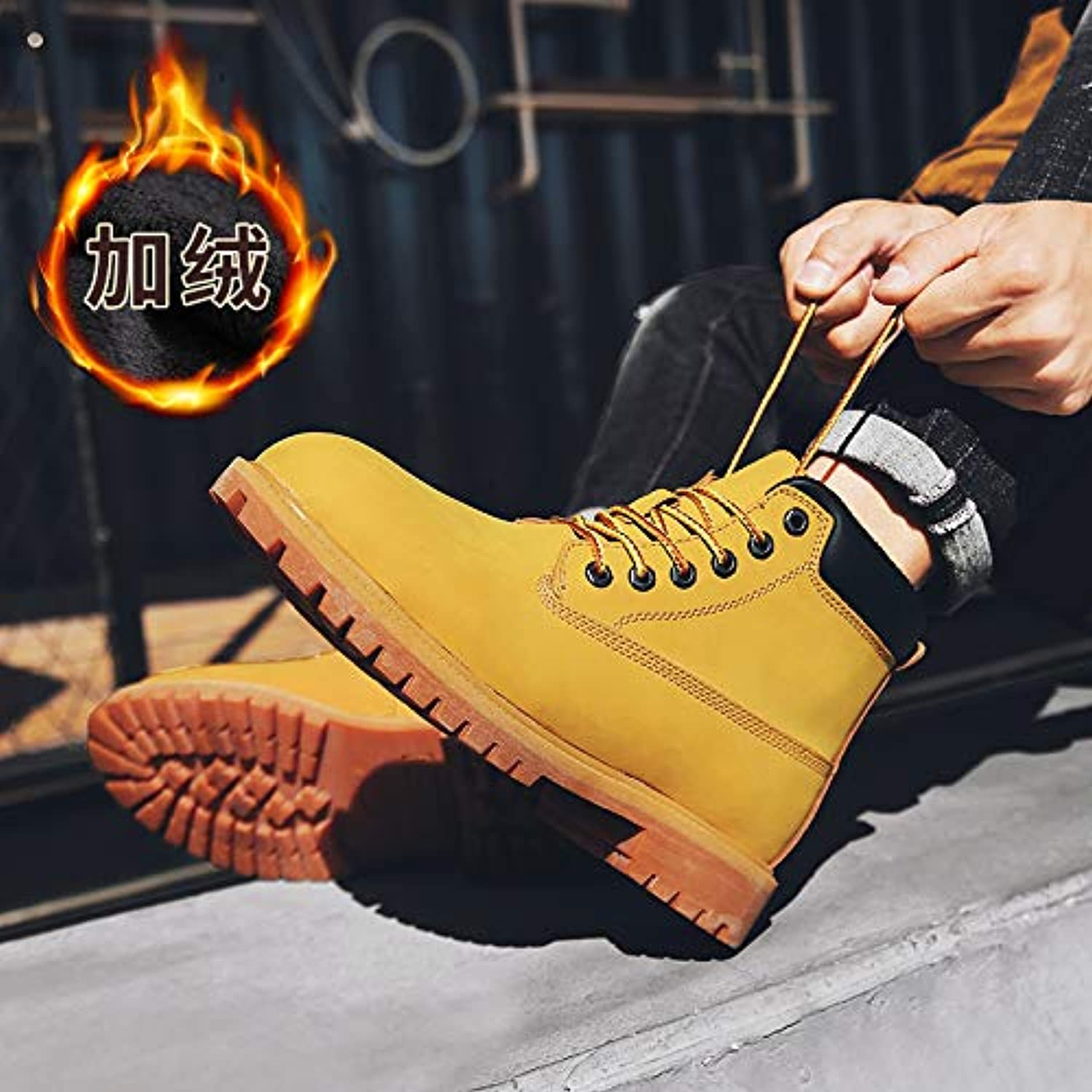ZyuQ Ankle boots Martin Boots Men'S Fashion High-Top shoes Winter Thickening Snow Tooling Military Boots