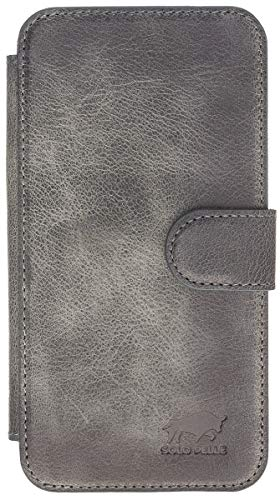 Capa carteira de couro Solo Pelle para iPhone XR, iPhone XR, Stonegray Burned