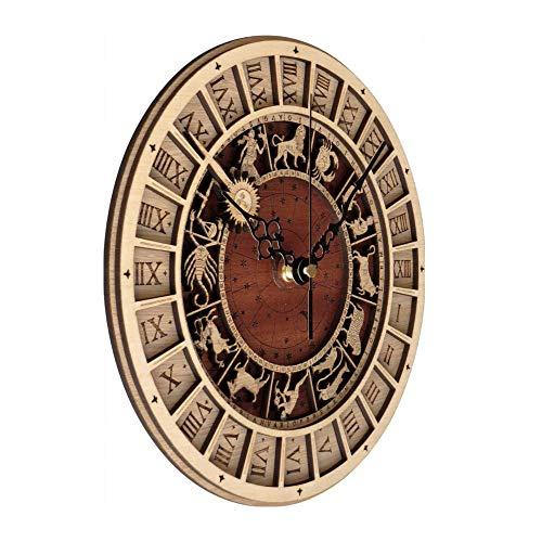 OUHUI Vintage Runde Dekorative Wanduhr Prag Astronomische Hölzerne Uhr Wanduhr Lautlos Wanduhren Astronomische Holzuhr Stumm Nicht-Tick Quarz Wanduhr 12 Zoll