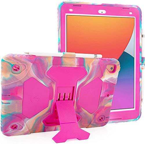 iPad Case 10.2/10.5 Adjustable Hybrid Three Layer Heavy Duty Kids Case Shockproof Anti-Fall for iPad 7th Generation 2019/iPad 8th Generation 2020/iPad Air 3rd Generation 2019/iPad Pro 2017(Pink Camo)