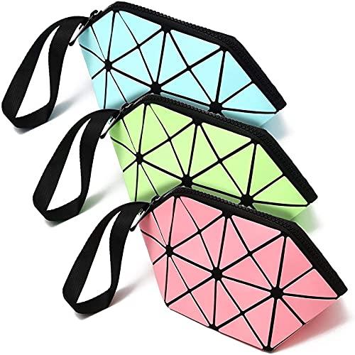Geometric Design Travel Makeup Bags in Pink, Green, Blue (Glow in the Dark, 3-Pk)