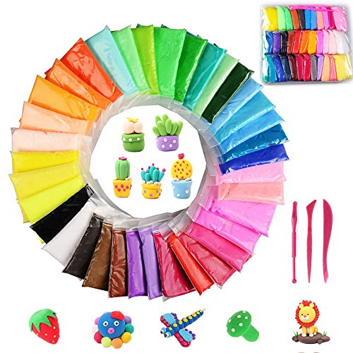 SIMUER 36 Pack Modeling Clay Fluffy Slime, 36 Colors DIY Sof