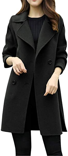 Women S Elegant Lapel Collar Long Sleeve Trench Coat Double Breasted Long Winter Outwear By Nevera