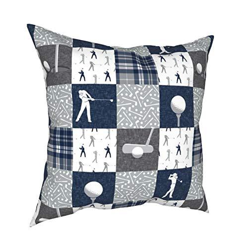 Funda de cojín para decoración diaria con cremallera, color gris y azul marino, para sofá, cama, coche, 45,72 x 45,72 cm