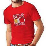 lepni.me Camisetas Hombre Carga de Cerveza, Citas Divertidas, Humor de Bar para Amantes de la Cerveza (X-Large Rojo Multicolor)
