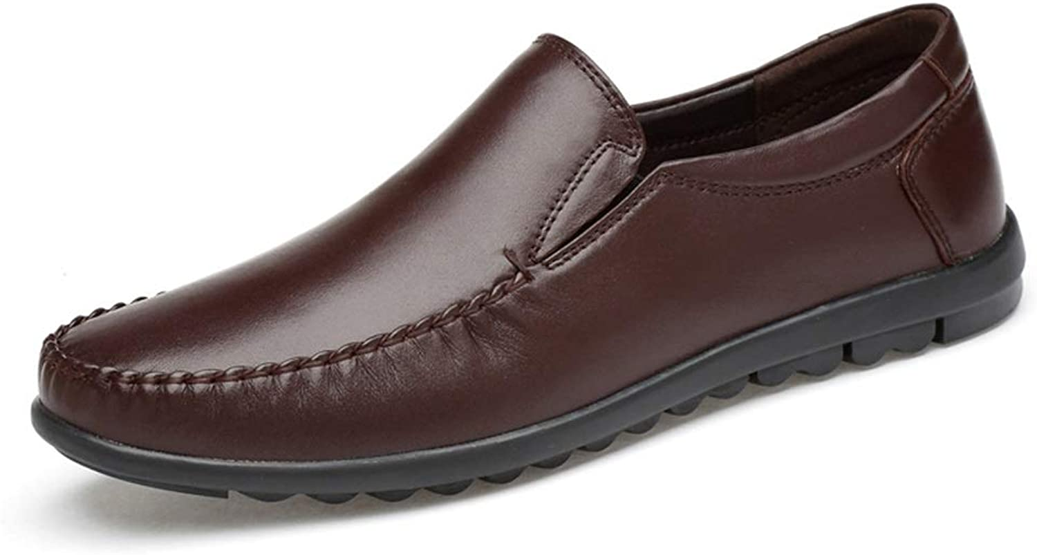 XHD-Men's shoes Men's Casual Loafer shoes Boat Moccasins Elastic Gored Panel Comfortable Flat Slip On Genuine Leather Upper Rhythm Toe Arctic Outsole
