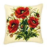 Vervaco - Plantilla para Hacer cojín de Punto de Cruz, diseño de Flores, Multicolor
