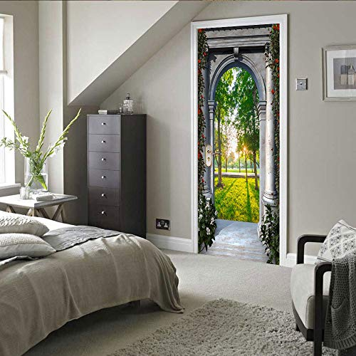 Door stickers and wall stickers, self-adhesive, waterproof and removable, home decoration wallpaper mural, Trees outside