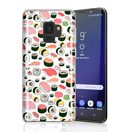 ZQ-Link Sushi Case for Galaxy S9, Raised Edges Scratch Resistant Lightweight Flexible Soft TPU Protective Cell Phone Cover for Samsung Galaxy S9 Seamless Sushi Sashimi Pattern