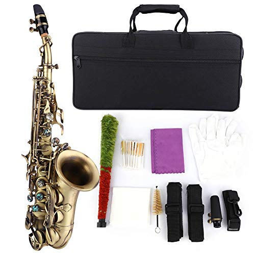 Saxofoon muziekinstrument, antieke sopraansaxofoon saxofoon in bronsstijl met kofferhandschoenen