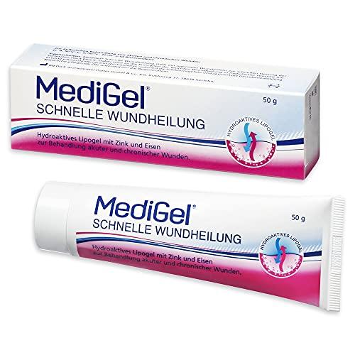 MediGel Schnelle Wundheilung – Hydroaktives Lipogel mit Zink & Eisen für alle Wunden im Alltag – Moderne feuchte Wundheilung – 50g