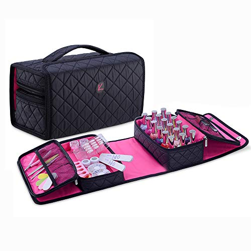 KIOTA Storage Case for Nail Polish and Manicure Set, Secure Soft Organizer with Magnetic Closure and Handle, Midnight Black