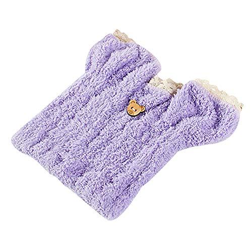 Coral Fleece Dry Hair Cap Absorbente Grueso Secado Rápido Orejas de Conejo Seco Cabello Cap Violeta