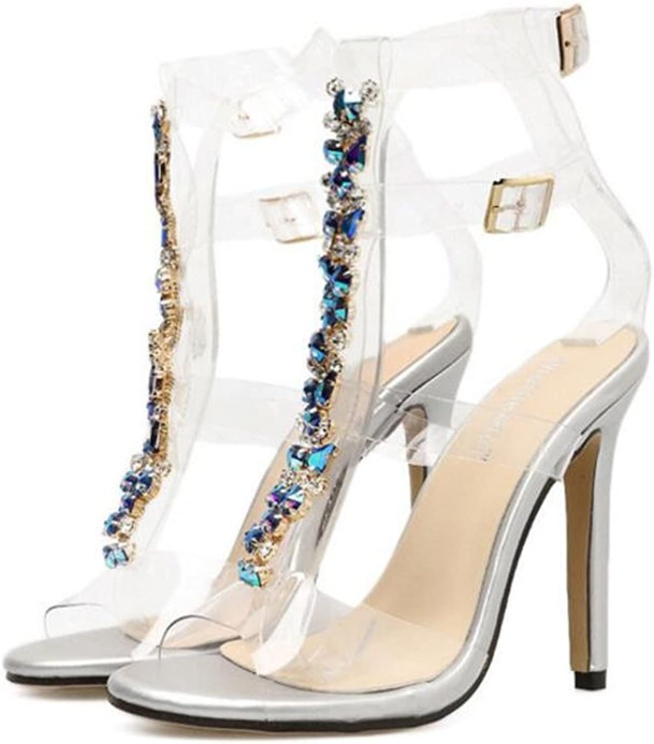 pink town Wonen Clear Transparent Perspex bluee Lace up Sexy High Heel Sandals