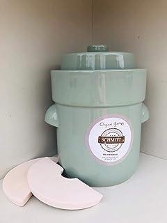 Gärtopf Sauerkrauttopf 5 Ltr.  Beschwerungssteine Pastell-grün Fermentation gesunde Ernährung Milchsäuregärung Vitalbooster ideal für Vegetarier Einmachen Konservieren Sauerkraut selbermachen