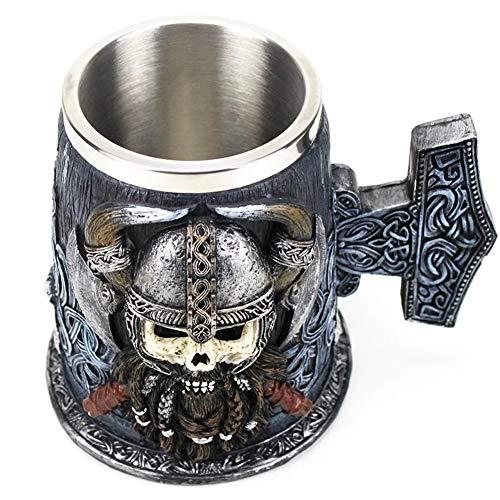 Jarra cerveza 3D Viking Danegeld, jarra cerveza calavera acero inoxidable, gran guerrero Mjolnir, inserto taza café, jarra resina beber, regalo cumpleaños, 620 ml