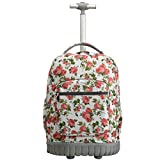 SKYMOVE 18 inches Wheeled Rolling Backpack Multi-Compartment College Books Laptop Bag, Flowers