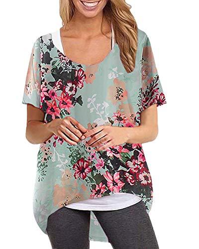 ZANZEA Damen Kurzarm Rundhals T-Shirt Asymmetrisch Jumper Shirt Blumen Oberteile Oversize 02-mintgrün Medium