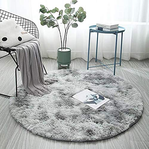"""Juesi Super Soft Circle Rugs for Girls Princess Castle Toddlers Play Tent 31"""" Diameter Circular Area Rugs for Kids Bedroom Baby Room Decor Round Shaggy Playhouse Carpets and Nursery Rugs, PK (Gray)"""