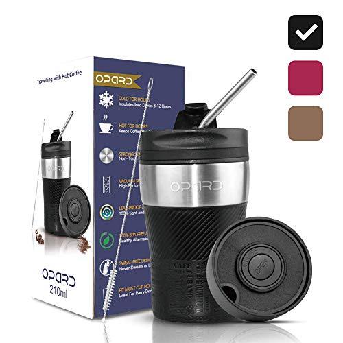 Opard Thermobecher -Travel Mug 210ml, Kaffeebecher to go, Isolierbecher mit Deckel, 100{fd4e6d1ebc4e04b502c2590fde560aa7ad1412eda61f3bb85d7a24b687e66236} Auslaufsicher, Trinkbecher aus Edelstahl, Autobecher, doppelwand Isolierung Kaffee to go (Schwarz)