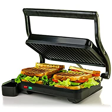 Ovente GP0620B 2 Electric Panini Press Grill and Gourmet Sandwich Maker with Auto Shut-Off, Drip Tray Included, 2-Slice (Black)