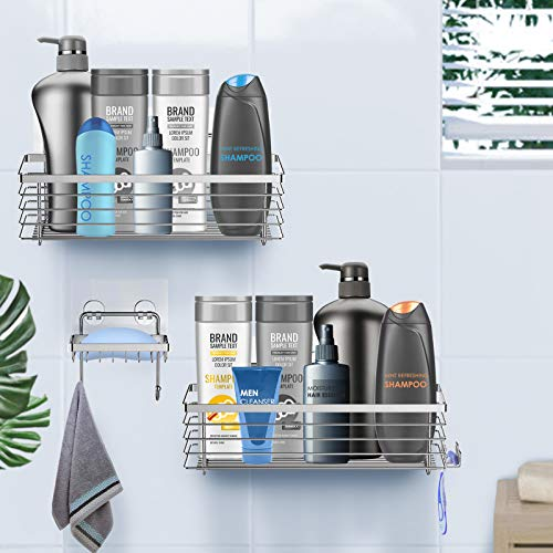 ODesign Shower Caddy Basket with Hooks Soap Dish Holder Shelf for Shampoo Conditioner Bathroom Storage Organizer SUS304 Stainless Steel Rustproof Adhesive No Drilling - 3 Pack