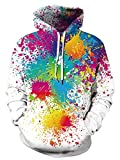 Sudadera con capucha unisex 3D, realista, de forro polar con bolsillo de canguro para hombre, mujer, adolescentes, de UNIFACO Blanco Pintura de color 1 S
